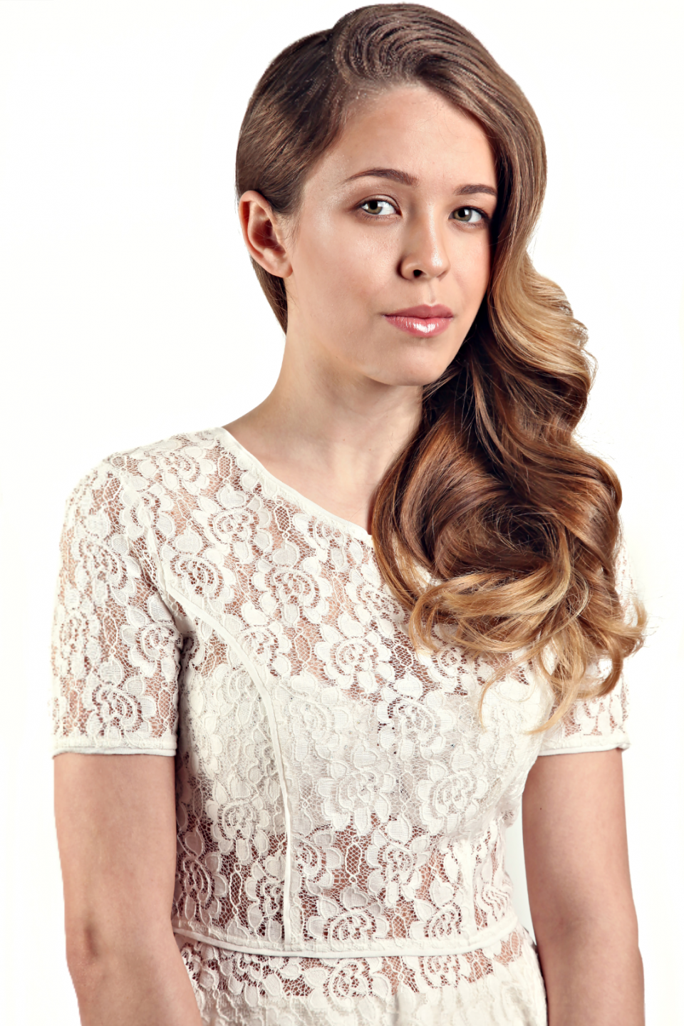 white, lace, bronde, hair, waves, side part